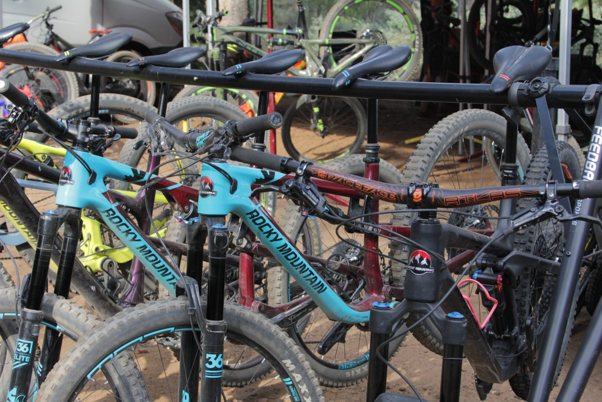 Different brands bring demo bikes to the festival.