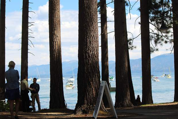 Attendees of the Lake Tahoe Summit had a view of the lake from Valhalla Tahoe.