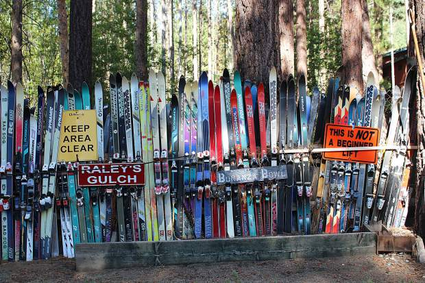 Hollay's backyard has a fence made entirely of old skies and signs from Heavenly.