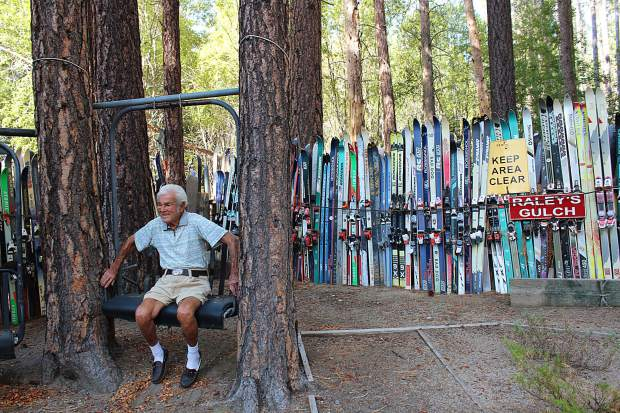 Hollay has old ski lifts hanging between trees in his backyard, located near the base of Heavenly.