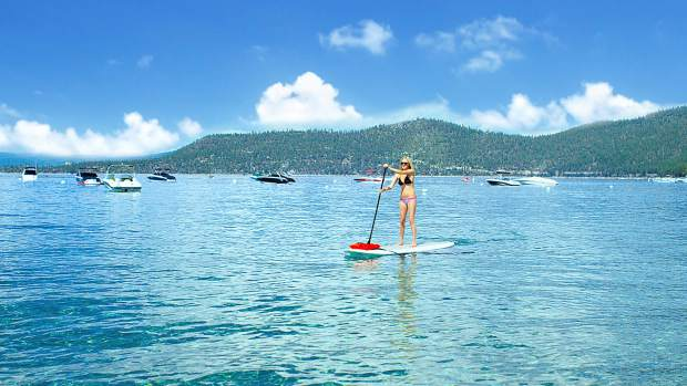 By land and by water, the Ale Trail interactive map provides locations even for paddleboarders like Tahoe native Chantel Whitelaw.