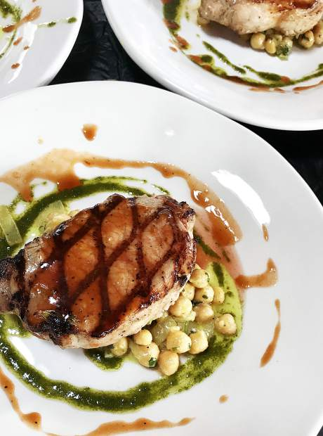 For the second course chef Patrick Harrity whipped up a pork chop with curried chickpeas, all plated beautifully.