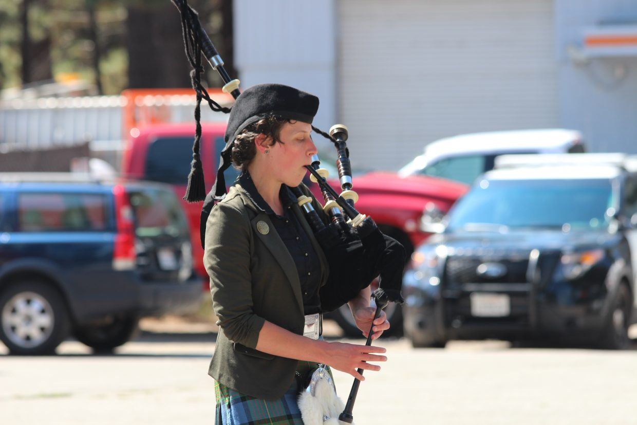 Maria DeLallo from Black Bear Pipe Band performs the bagpipes during the Sept. 11 memorial ceremony at the American Legion.