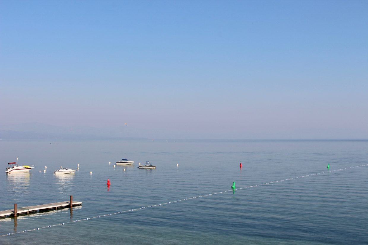 Smoke obscures the view on Lake Tahoe's South Shore Friday.
