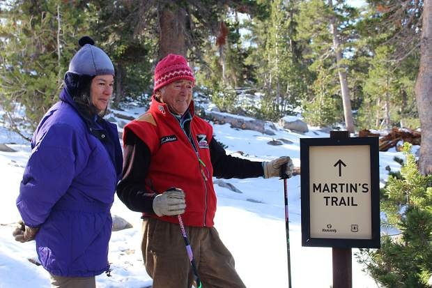 Hollay and his daughter Cezi stand at the start of the new trail at Heavenly Mountain Resort.