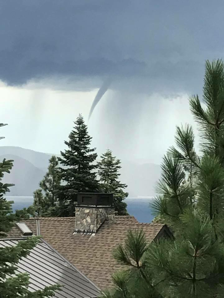 A waterspout was observed over Lake Tahoe Wednesday.
