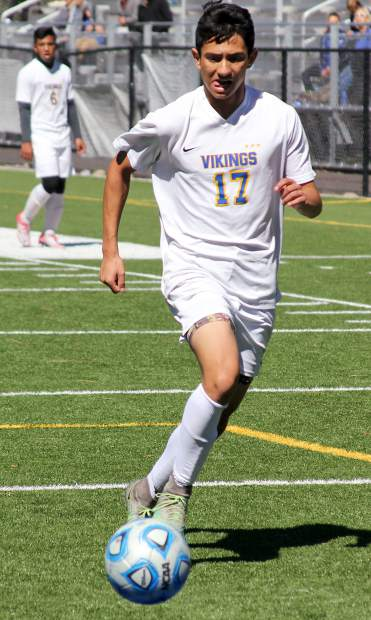 Viking Giovani Yanez chases down a loose ball Saturday vs. Spring Creek at South Tahoe.