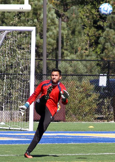 South Tahoe goalkeeper Sergio Rodriguez boots the ball out of Viking territory Saturday after making a save.