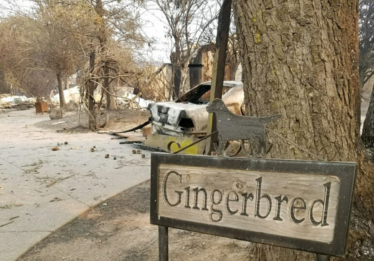 In this Monday, Oct. 9, 2017, photo provided by Christine Tye shows the damage to her Gingerbred Farms property in Sonoma, Calif. Tye lost her Sonoma home early Monday, as flames ripped through her neighborhood.