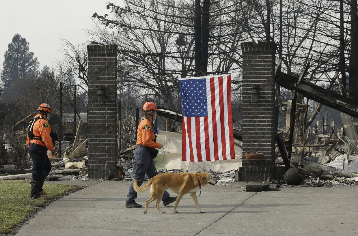 Capt. Fran Roelfsema, of the Alameda County Sheriff's Office Search and Rescue team and her search dog, Tioga, inspect a burned out home with team member Leah Waarvik, left, while searching the Coffey Park area, Tuesday, Oct. 17, 2017, in Santa Rosa, Calif. A massive wildfire swept through the area last week destroying thousands of housing and business and taking the lives of more than two dozen people.