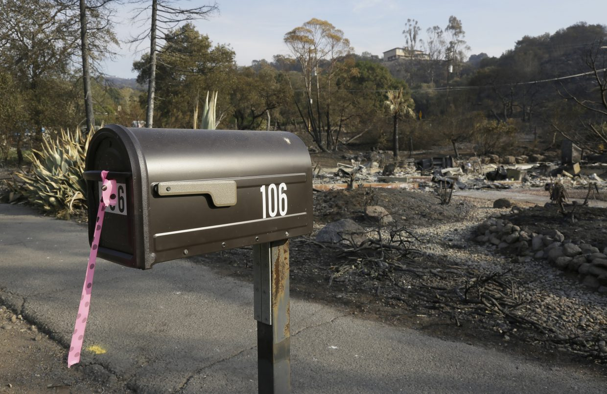 FILE - In this Oct. 16, 2017 file photo, a mailbox, one of few items left at the site of the destroyed home in Napa, Calif., where Sara and Charles Rippey died in a fast-moving wildfire, shows a pink and black polka dot ribbon that indicates a fire crew has visited the location. The vast majority of those who died in the Northern California wildfires were in their 70s and 80s including several couples who died together.