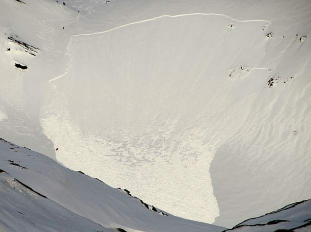 An avalanche in Svalbard.