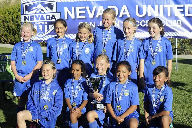 The South Tahoe FC 07 Fury won the 11 and under division at the Nevada United-San Juan Fall Cup earlier this month in Reno. Players on the soccer team include: (top row from left) Chloe Waskiewicz, Milan Riva, Sawyer Mathews, Campbell Mathews, Hannah Fishbaugher, Kyla Carpenter, (bottom row, from left) Avalon Newberry, Isabelle Geilenfeldt, Ellie James, Andrea Torres and Dianna Torres.