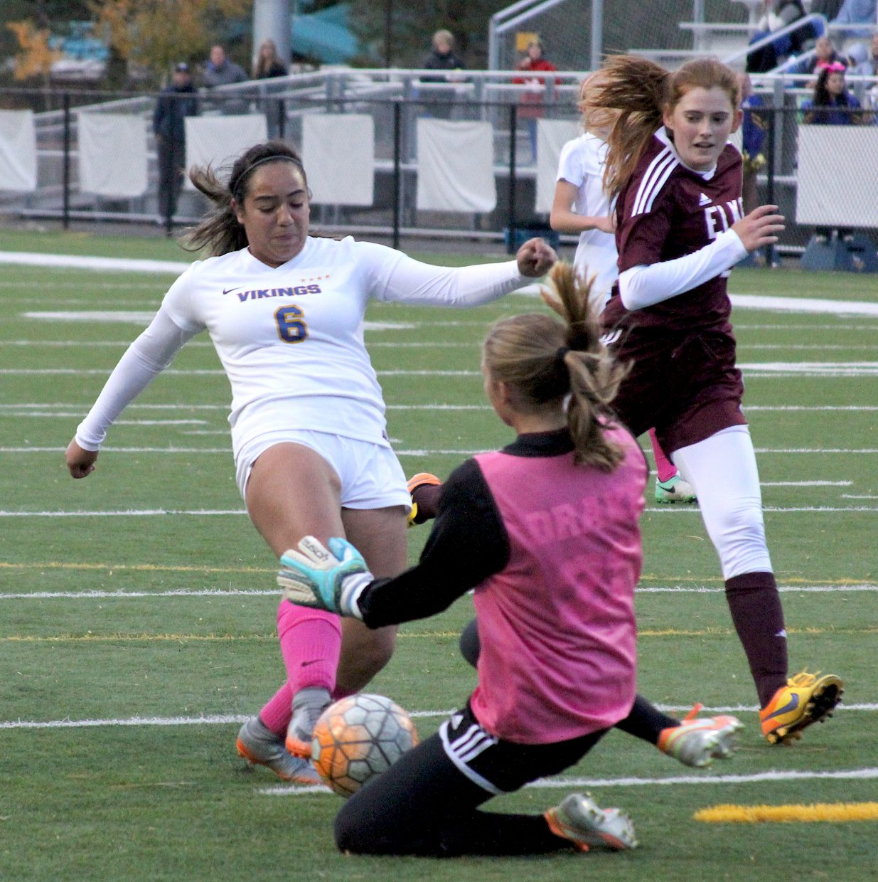 South Tahoe's Keytie Jacqueline Bravo-Cazares (6) is denied her second goal of the game Friday night against Elko.