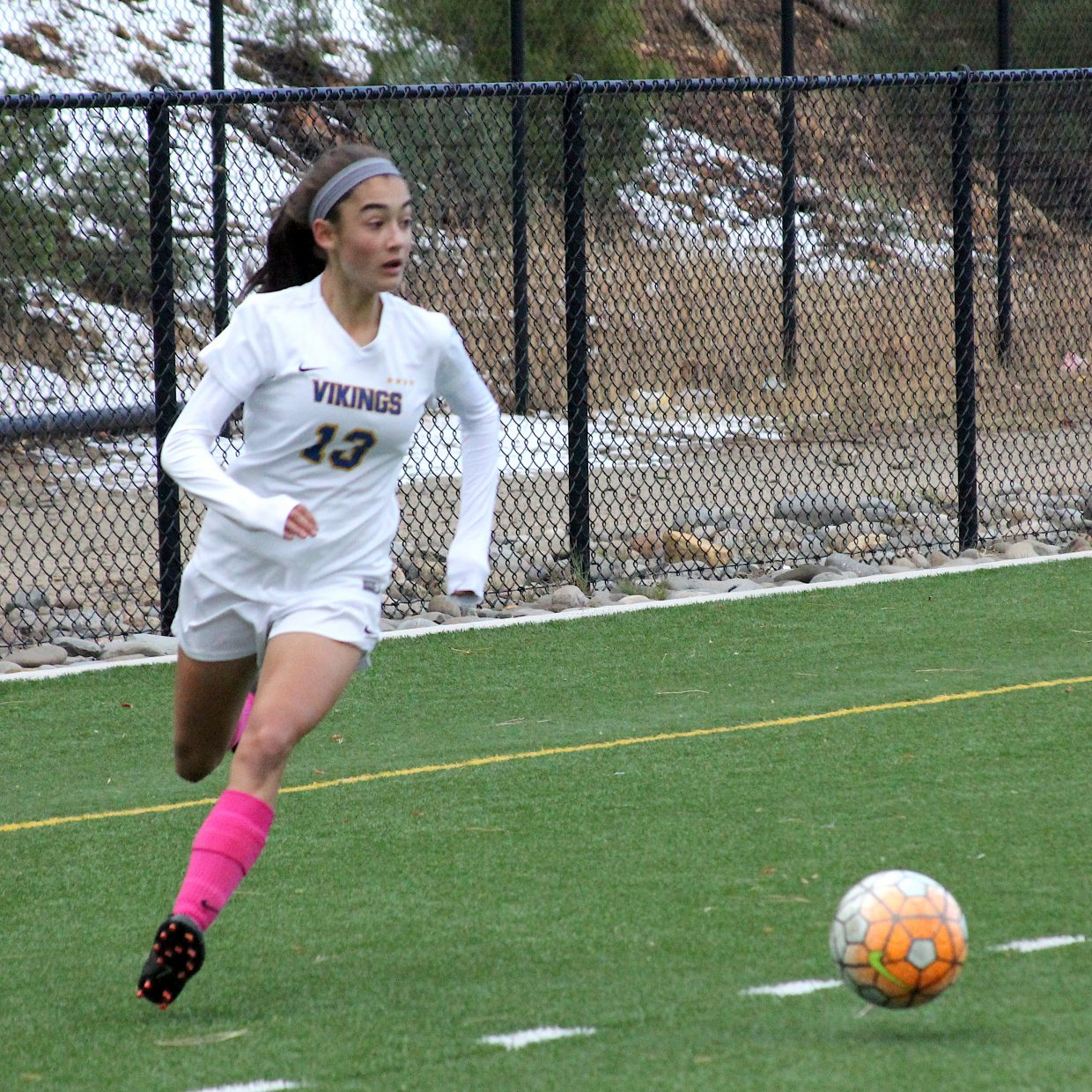South Tahoe freshman Giovana De Loiaheads toward the Elko goal.