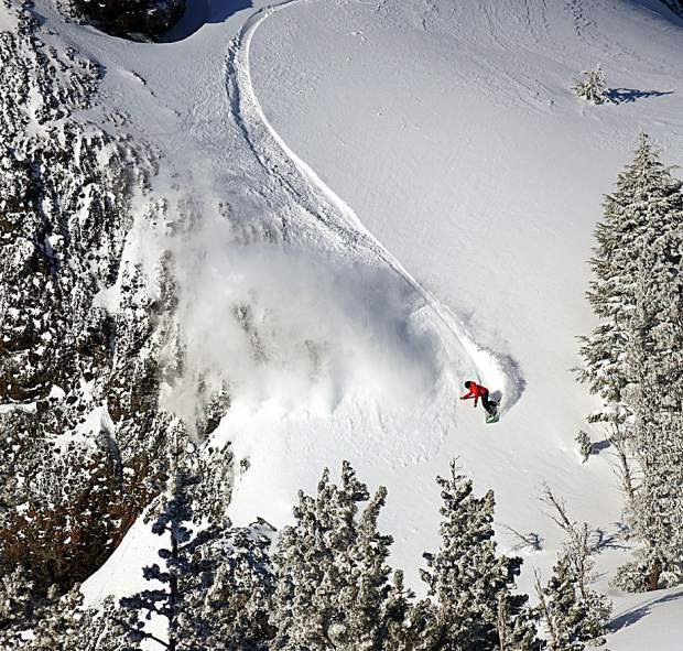 Meyers' Abe Greenspan cruises in powder during a backcountry run.