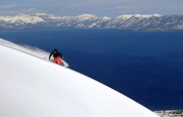 Lee Collins, president of TahoeLab, makes his way down Mount Tallac.