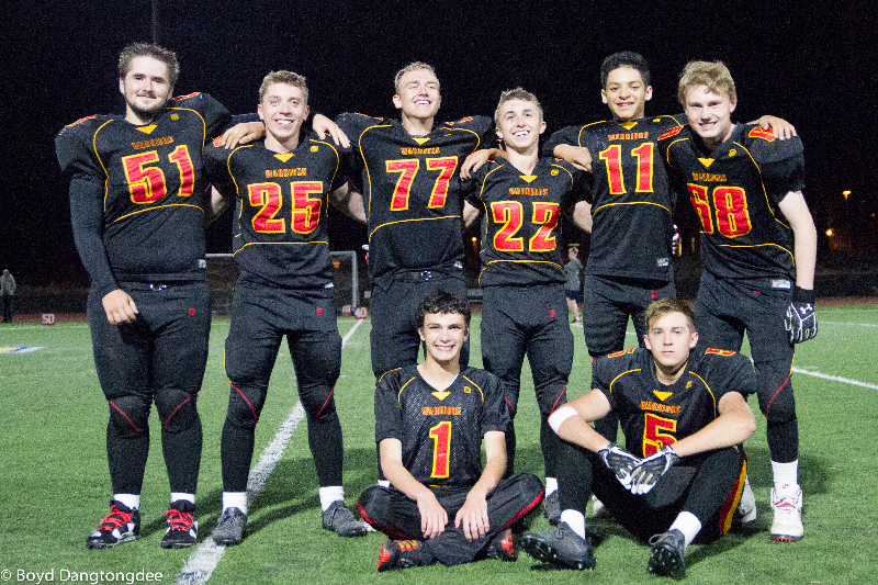 Whittell celebrated its senior football players Thursday night. The seniors are (from left) Alex Byer, Connor Huber, Bastion Elkins, Steele Wetterer (1), Corey Huber, Genaro Mena, Nic Buchholz (5) and Noah Bachman.