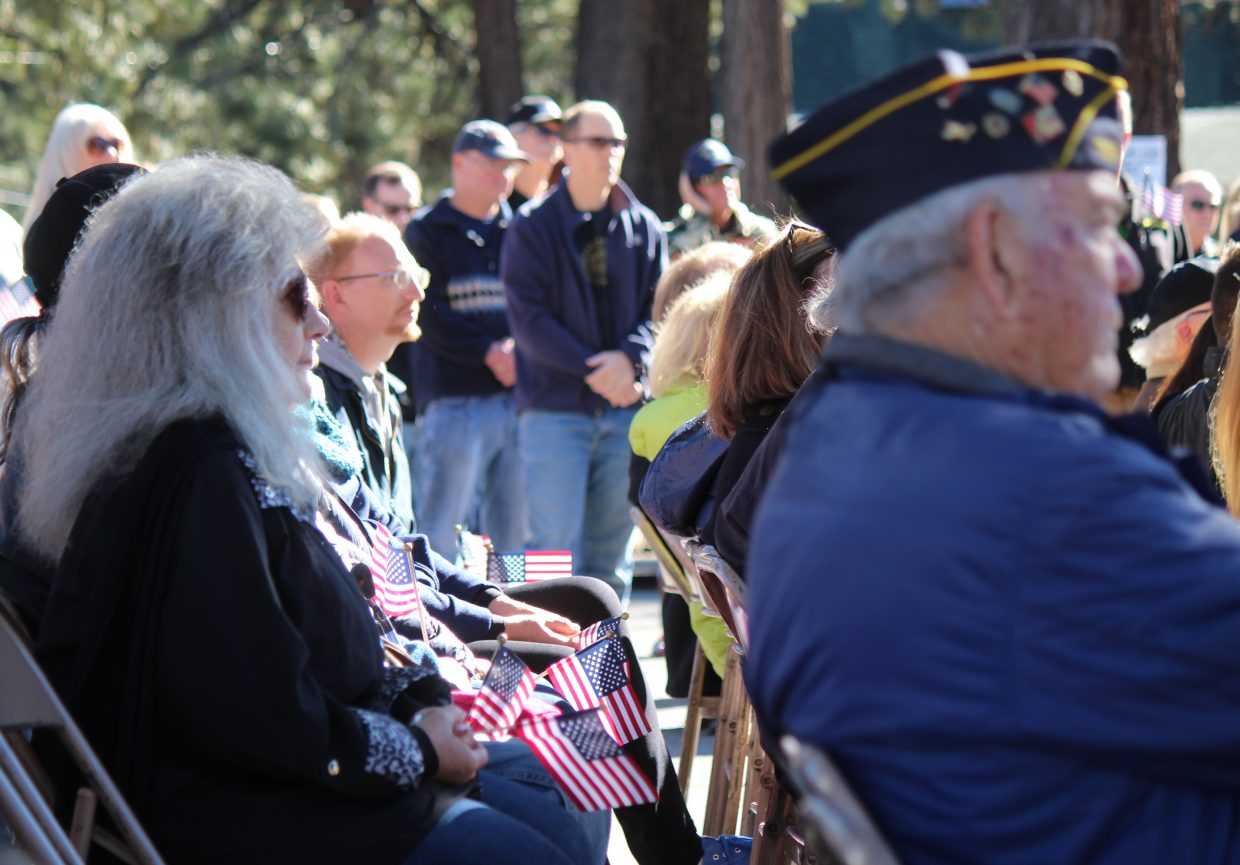 There was no shortage of flags during a Veterans Day ceremony Saturday.