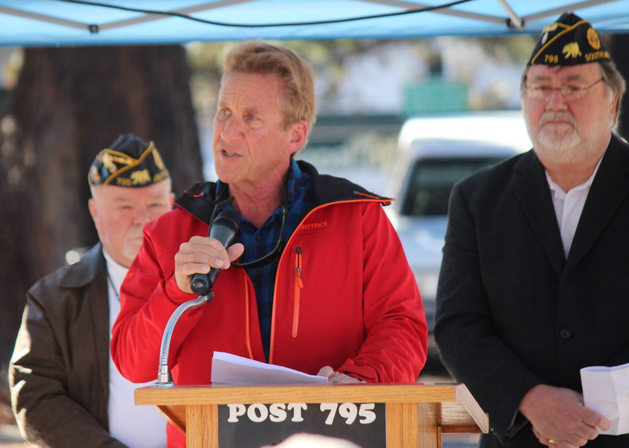 South Lake Tahoe Mayor Austin Sass speaks during a ceremony at the American Legion.