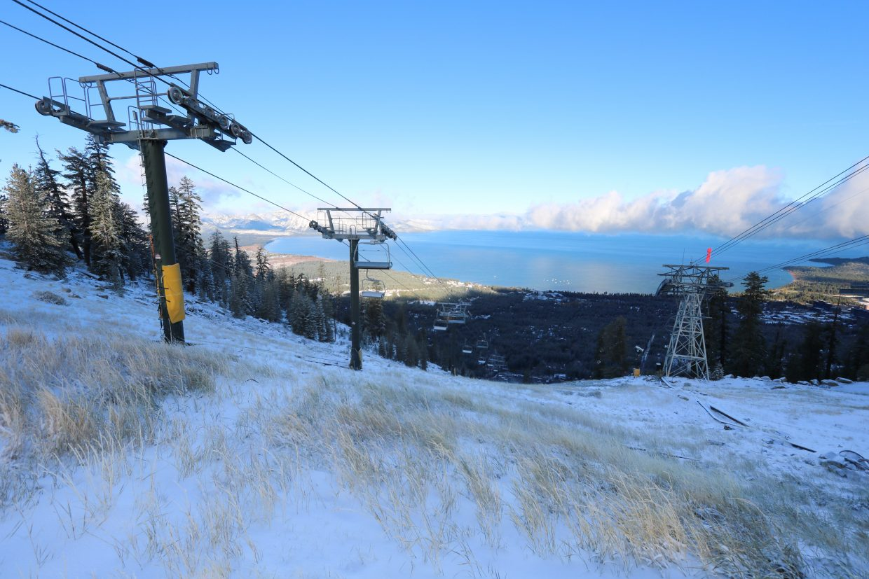 A light dusting covers the slopes at Hevenly Mountain Resort on Oct. 20.