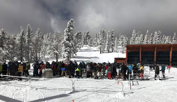 The lines were long Friday, Nov. 17, to board the Tamarack chair lift at Heavenly Mountain Resort.