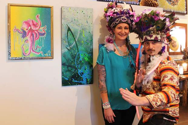 Chris P. and Keely Grider — a painting duo called Indians of the Future — have an exhibit on display at Benko Art Gallery that uses an augmented reality app to create 3D interactive art.