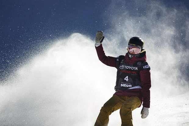 Silje Noredal of Norway waves to the crowed following her run in the big air final during the U.S. Grand Prix event Sunday, Dec. 10, at Copper Mountain.