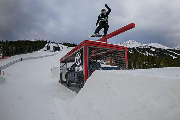 Mons Roisland of Norway competes in the Dew Tour men's snowboard slopestyle qualifiying round Wednesday at Breckenridge Ski Resort. Roisland tallied a score of 78.33 to qualify in third place for Friday's finals.