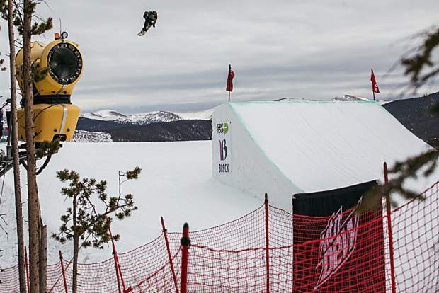 Red Gerard of Silverthorne competes Wednesday in the Dew Tour men's snowboard slopestyle qualification round at Breckenridge Ski Resort. Gerard scored an 80.66 to qualify for Friday's final round as the top American and in second place overall.
