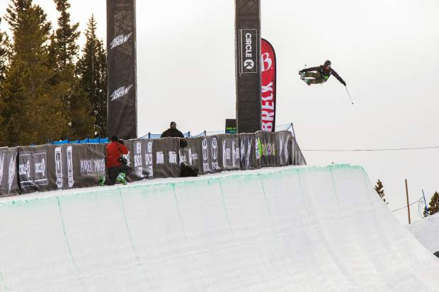 Brita Sigourney of the United States eyes a landing on the Dew Tour superpipe during Wednesday's qualification round. Sigourney's 85.33 qualified her in third place for Friday's final.