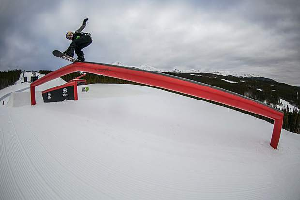 Judd Henkes of the U.S. competes during Wednesday's Dew Tour men's snowboard slopestyle qualifying round at Breckenridge Ski Resort. Henkes was awarded a 74.33 to qualify for Friday's final round in fifth place.