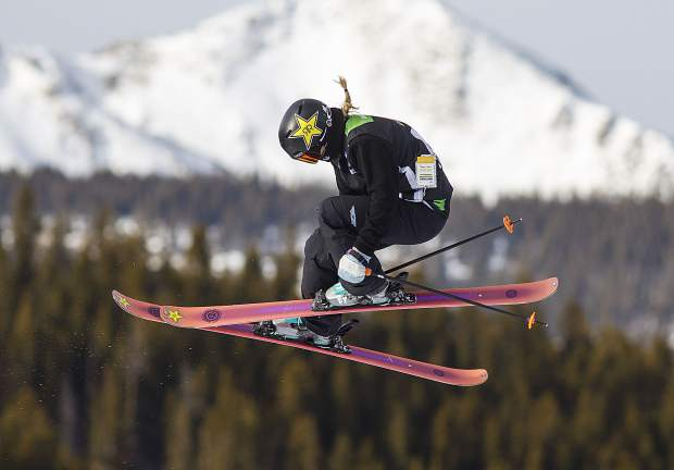 Johanne Killi of Norway competes in the slopestyle finals during the Dew Tour event Saturday, Dec. 16, at Breckenridge Ski Resort. Killi took home first with a high score of 90.