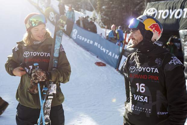 David Wise of the United States, left, and Canada's Noah Bowman interact following the halfpipe finals during the U.S. Grand Prix World Cup event Friday, Dec. 8, at Copper Mountain. Wise won the event while Bowman took second place.