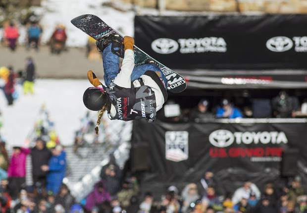 Maddie Mastro of United States competes in the halfpipe finals during the U.S. Grand Prix event Saturday, Dec. 9, at Copper Mountain. Mastro took home second with a high score of 90.75.