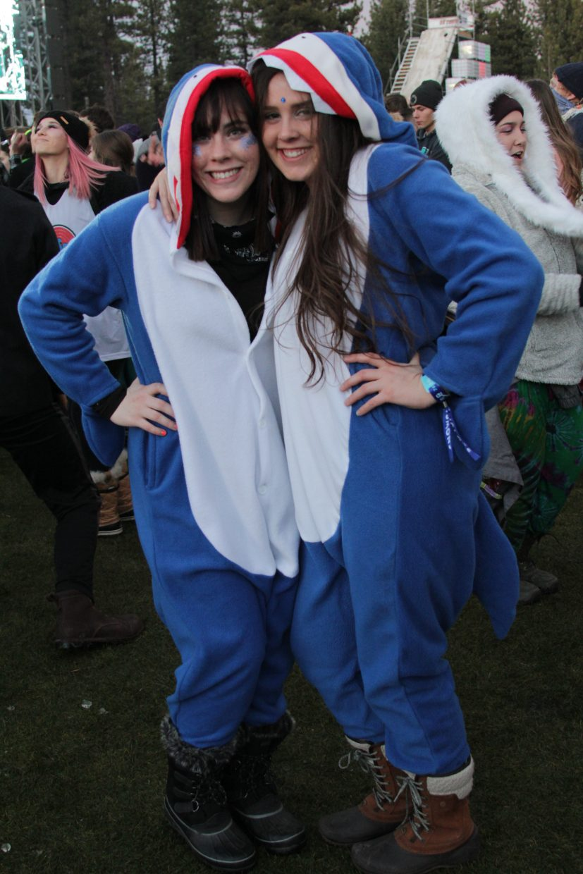 Onesies and costumes are a part of the festival culture at SnowGlobe.