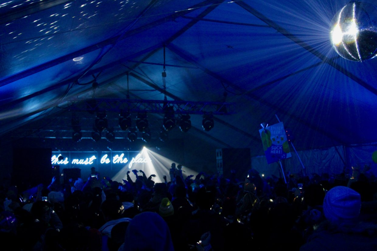 The Igloo is one of three stages at SnowGlobe. The large tent is the only indoor venue at the festival.