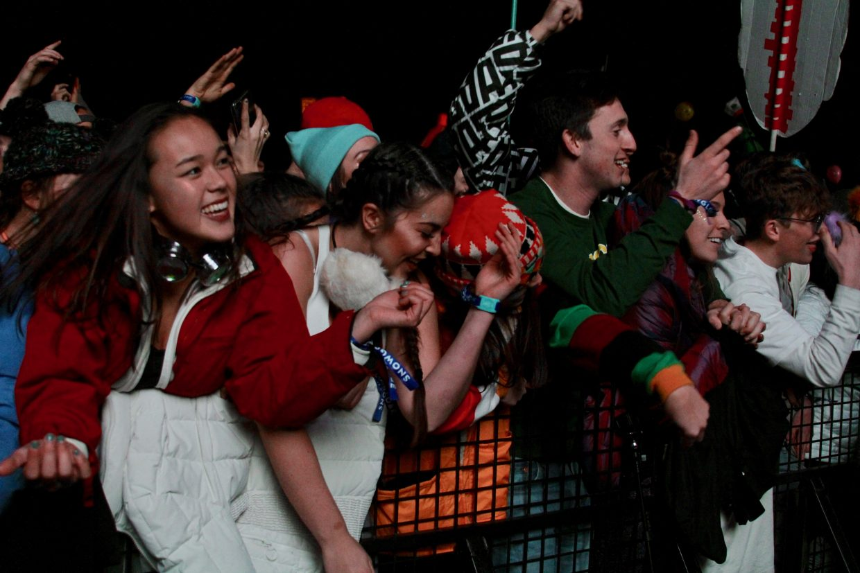 SnowGlobe attendees danced during Dillon Francis' set Saturday night.