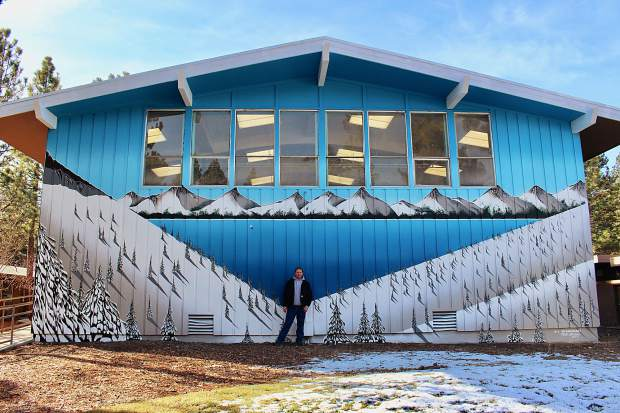 Artist Nick Akins painted this mural at Tahoe Valley Elementary School over 10 weeks.