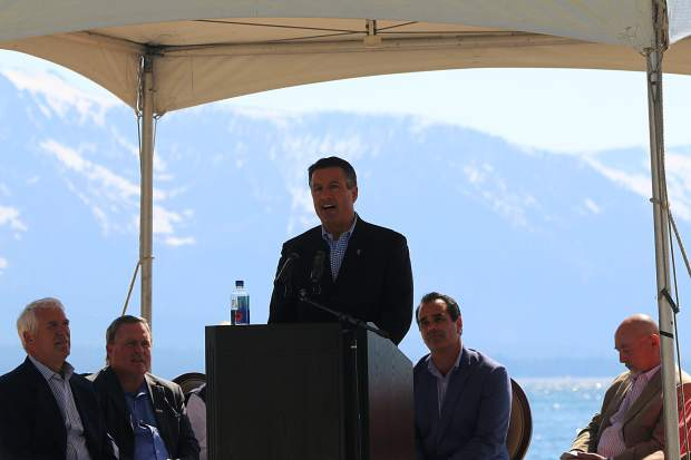 Nevada Governor Brian Sandoval praised The Lodge at Edgewood Tahoe for its environmental and economic benefits to Lake Tahoe's South Shore at the grand opening held on Tuesday, June 20.