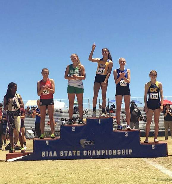 South Tahoe senior Maya Brosch takes her rightful place at the top of the podium. Brosch took gold in all of her events, sweeping the podium.