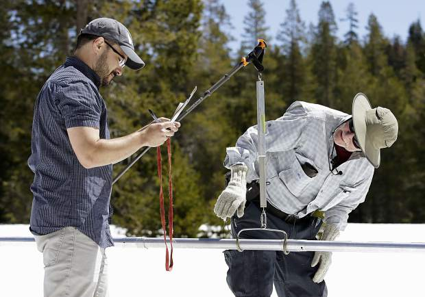 Frank Gehrke, right, chief of the California Cooperative Snow Surveys Program for the Department of Water Resources, checks the snowpack weight on a scale held by DWR's Wes McCandless, while doing the manual snow survey at Phillips Station, Monday, May 1, 2017, near Echo Summit, Calif.
