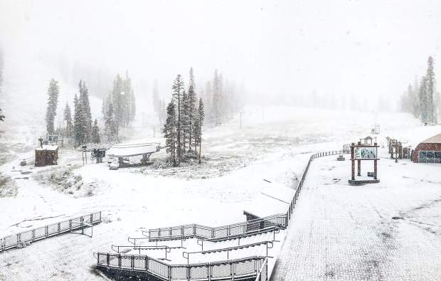 Thursday looked more like winter than the last day of summer out at Sierra-at-Tahoe.