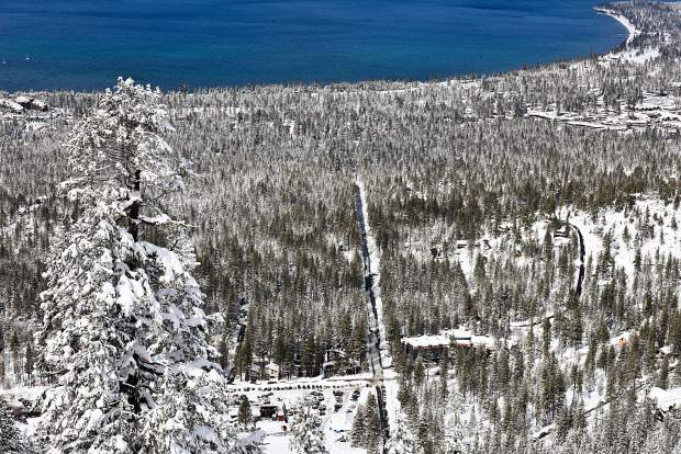 Looking down at South Lake Tahoe from the heights of Heavenly Mountain Resort.