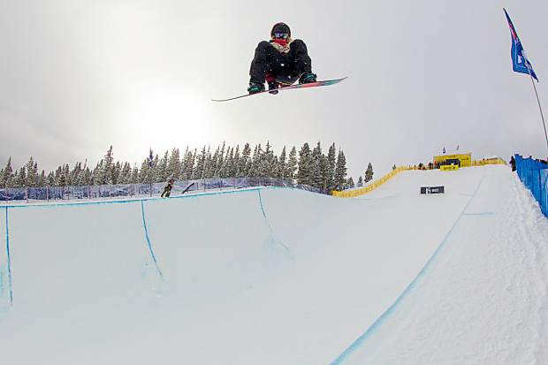 Three-time Olympian Hannah Teter gets big air in competition.