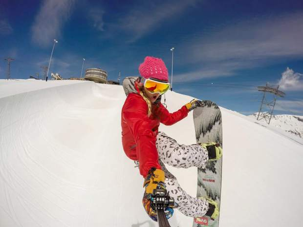 Olympian Hannah Teter videos herself while riding the halfpipe.