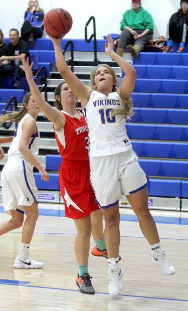 South Tahoe junior Hailey Naccarato attempts a layup Tuesday, Dec. 12, against Truckee.