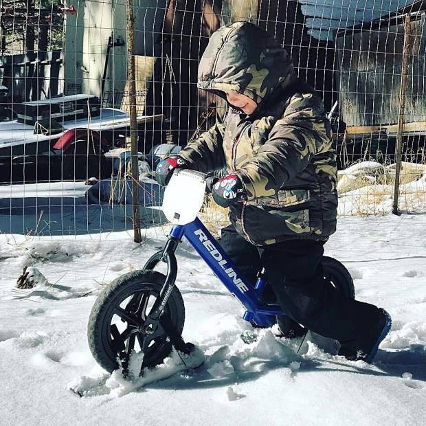 When bike is life, you attach skis to your wheels and get outside!