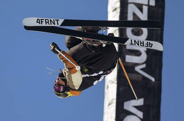 Alex Ferreira of the United States competes in the pro ski superpipe finals during the Dew Tour event Friday, Dec. 15 at Breckenridge Ski Resort. Ferreira took home first with a high score of 94.66.