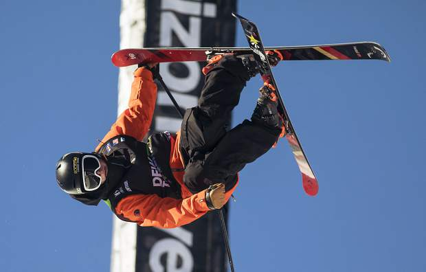 Aaron Blunck of the United States competes in the pro ski superpipe finals during the Dew Tour event Friday, Dec. 15 at Breckenridge Ski Resort.